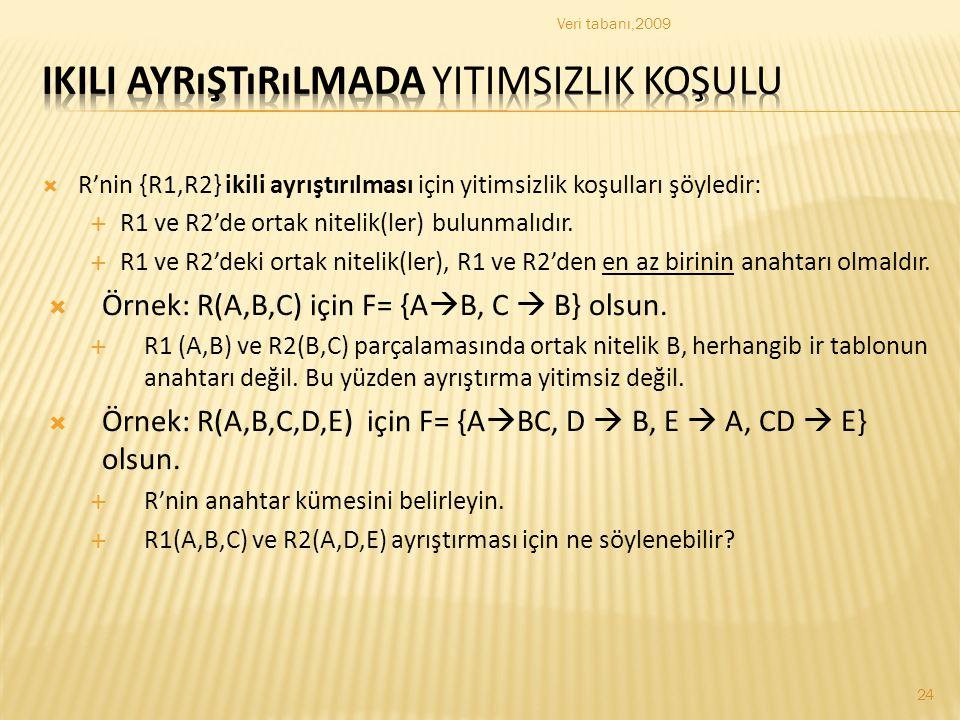  R'nin {R1,R2} ikili ayrıştırılması için yitimsizlik koşulları şöyledir:  R1 ve R2'de ortak nitelik(ler) bulunmalıdır.  R1 ve R2'deki ortak nitelik