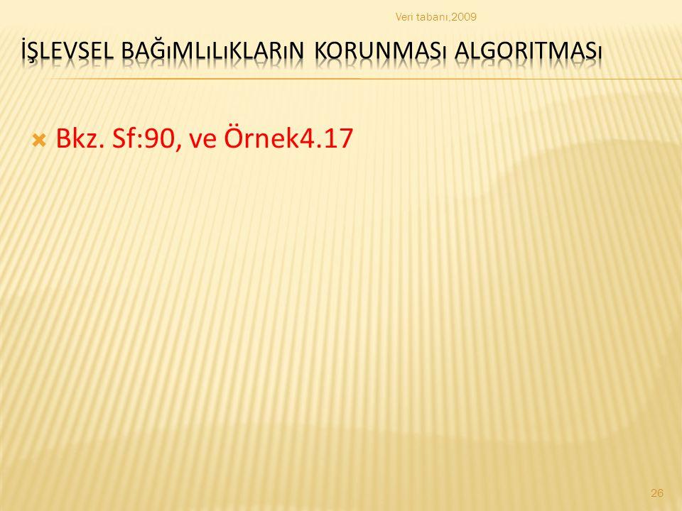  Bkz. Sf:90, ve Örnek4.17 Veri tabanı,2009 26