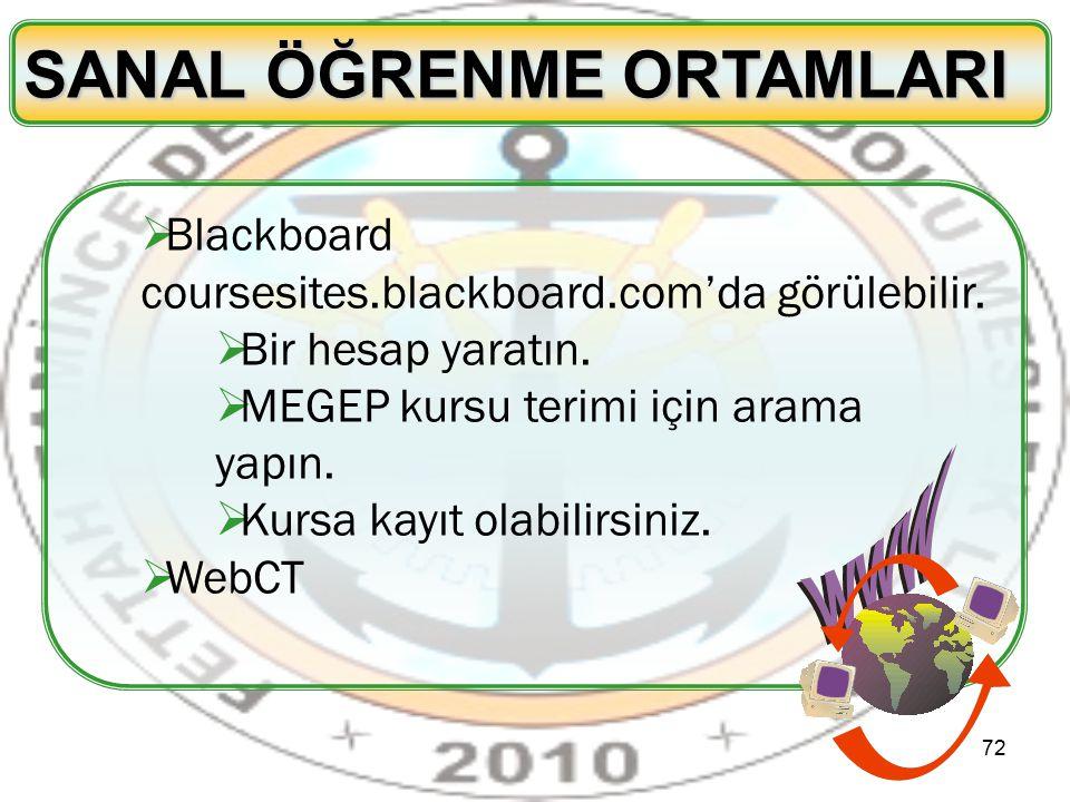 72 SANAL ÖĞRENME ORTAMLARI  Blackboard coursesites.blackboard.com'da görülebilir.  Bir hesap yaratın.  MEGEP kursu terimi için arama yapın.  Kursa
