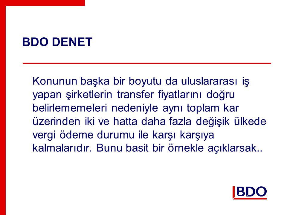 BDO DENET Konunun başka bir boyutu da uluslararası iş yapan şirketlerin transfer fiyatlarını doğru belirlememeleri nedeniyle aynı toplam kar üzerinden iki ve hatta daha fazla değişik ülkede vergi ödeme durumu ile karşı karşıya kalmalarıdır.