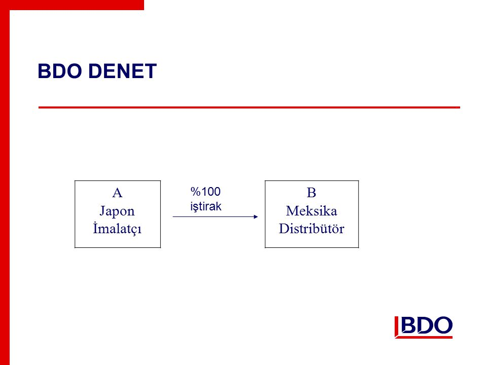 BDO DENET A Japon İmalatçı B Meksika Distribütör %100 iştirak