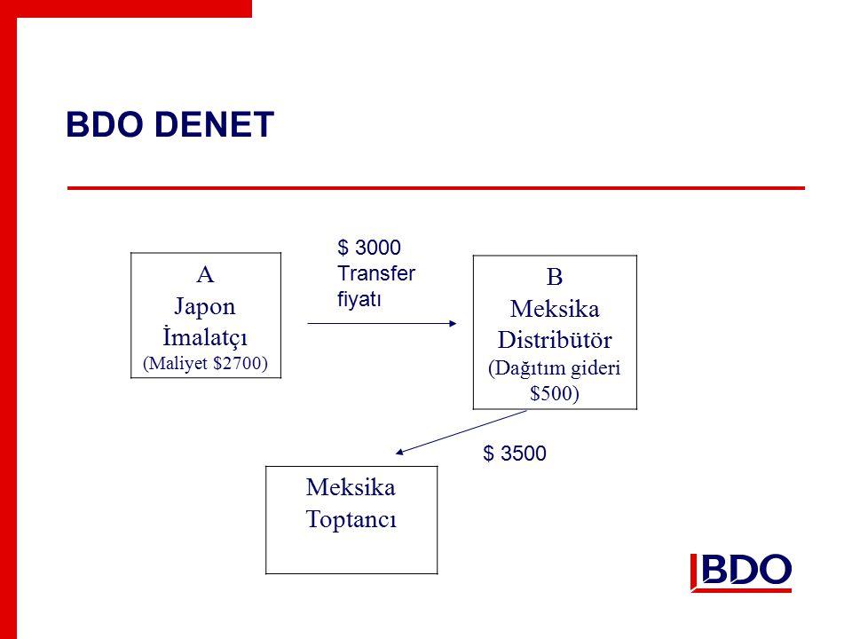 BDO DENET A Japon İmalatçı (Maliyet $2700) B Meksika Distribütör (Dağıtım gideri $500) $ 3000 Transfer fiyatı Meksika Toptancı $ 3500