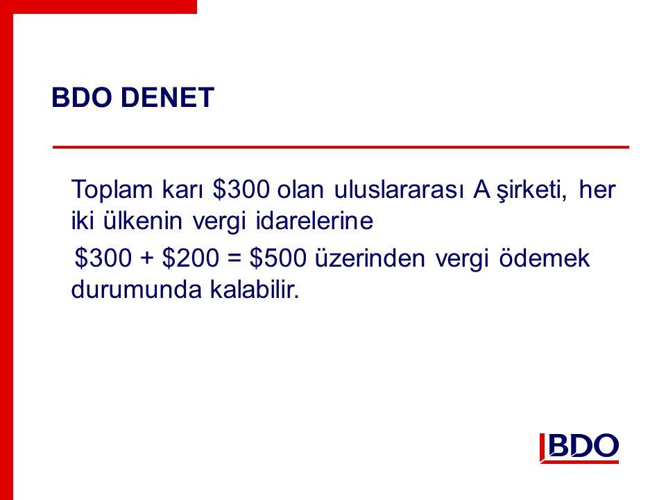 BDO DENET Toplam karı $300 olan uluslararası A şirketi, her iki ülkenin vergi idarelerine $300 + $200 = $500 üzerinden vergi ödemek durumunda kalabilir.