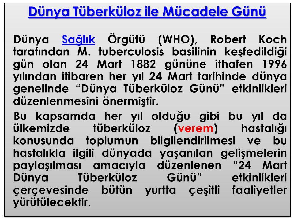 Dünya Tüberküloz ile Mücadele Günü Dünya Tüberküloz ile Mücadele Günü Dünya Sağlık Örgütü (WHO), Robert Koch tarafından M. tuberculosis basilinin keşf