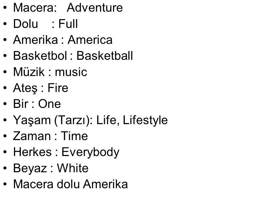 Macera: Adventure Dolu : Full Amerika : America Basketbol : Basketball Müzik : music Ateş : Fire Bir : One Yaşam (Tarzı): Life, Lifestyle Zaman : Time