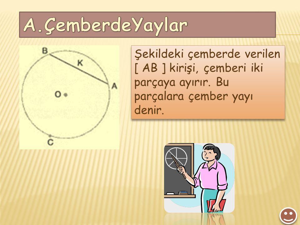 Şekildeki çemberde verilen [ AB ] kirişi, çemberi iki parçaya ayırır. Bu parçalara çember yayı denir.