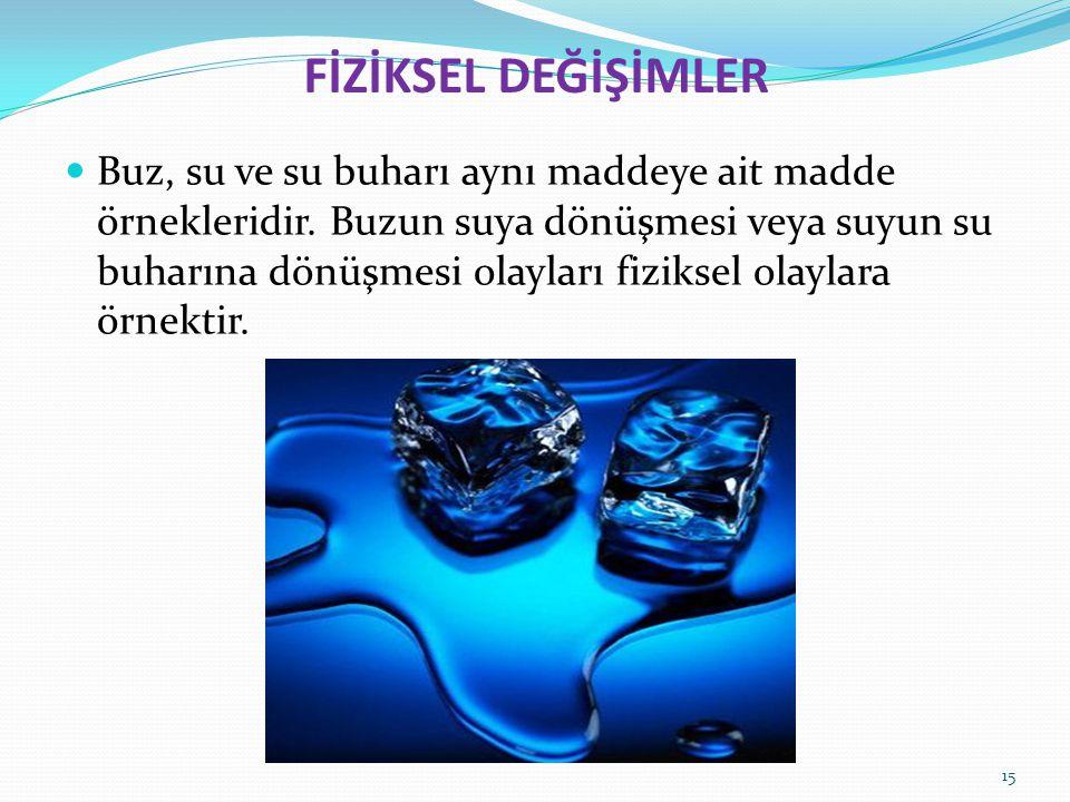 FİZİKSEL DEĞİŞİMLER Buz, su ve su buharı aynı maddeye ait madde örnekleridir. Buzun suya dönüşmesi veya suyun su buharına dönüşmesi olayları fiziksel