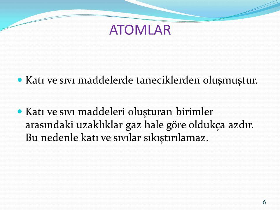 ATOMLAR Katı ve sıvı maddelerde taneciklerden oluşmuştur. Katı ve sıvı maddeleri oluşturan birimler arasındaki uzaklıklar gaz hale göre oldukça azdır.