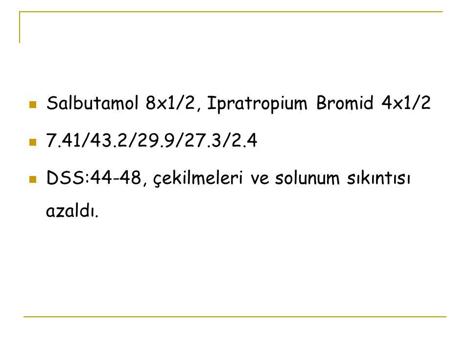 Salbutamol 8x1/2, Ipratropium Bromid 4x1/2 7.41/43.2/29.9/27.3/2.4 DSS:44-48, çekilmeleri ve solunum sıkıntısı azaldı.