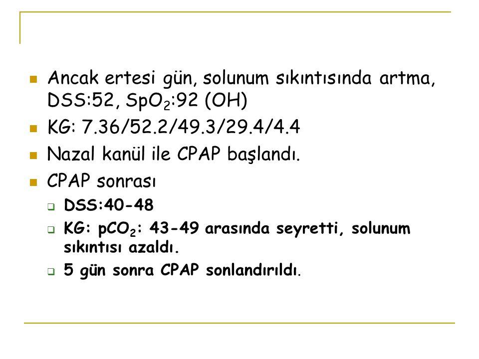 Ancak ertesi gün, solunum sıkıntısında artma, DSS:52, SpO 2 :92 (OH) KG: 7.36/52.2/49.3/29.4/4.4 Nazal kanül ile CPAP başlandı. CPAP sonrası  DSS:40-