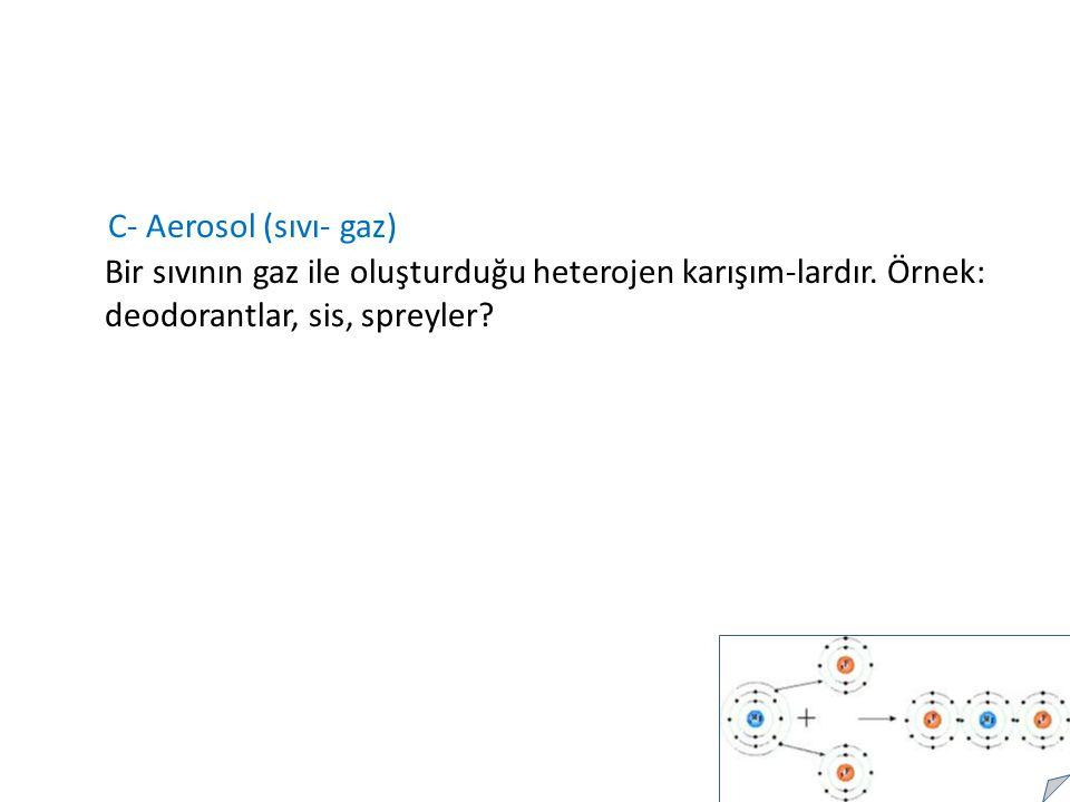 C- Aerosol (sıvı- gaz) Bir sıvının gaz ile oluşturduğu heterojen karışım-lardır.
