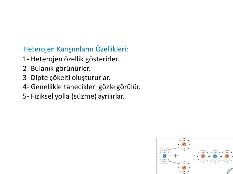 Heterojen Karışımların Özellikleri: 1- Heterojen özellik gösterirler.