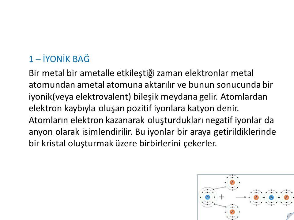 1 – İYONİK BAĞ Bir metal bir ametalle etkileştiği zaman elektronlar metal atomundan ametal atomuna aktarılır ve bunun sonucunda bir iyonik(veya elektrovalent) bileşik meydana gelir.