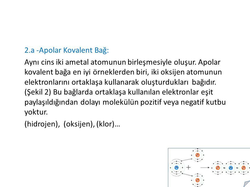 2.a -Apolar Kovalent Bağ: Aynı cins iki ametal atomunun birleşmesiyle oluşur.