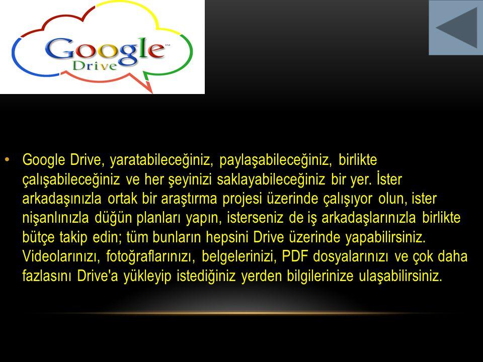 Google Drive, yaratabileceğiniz, paylaşabileceğiniz, birlikte çalışabileceğiniz ve her şeyinizi saklayabileceğiniz bir yer. İster arkadaşınızla ortak