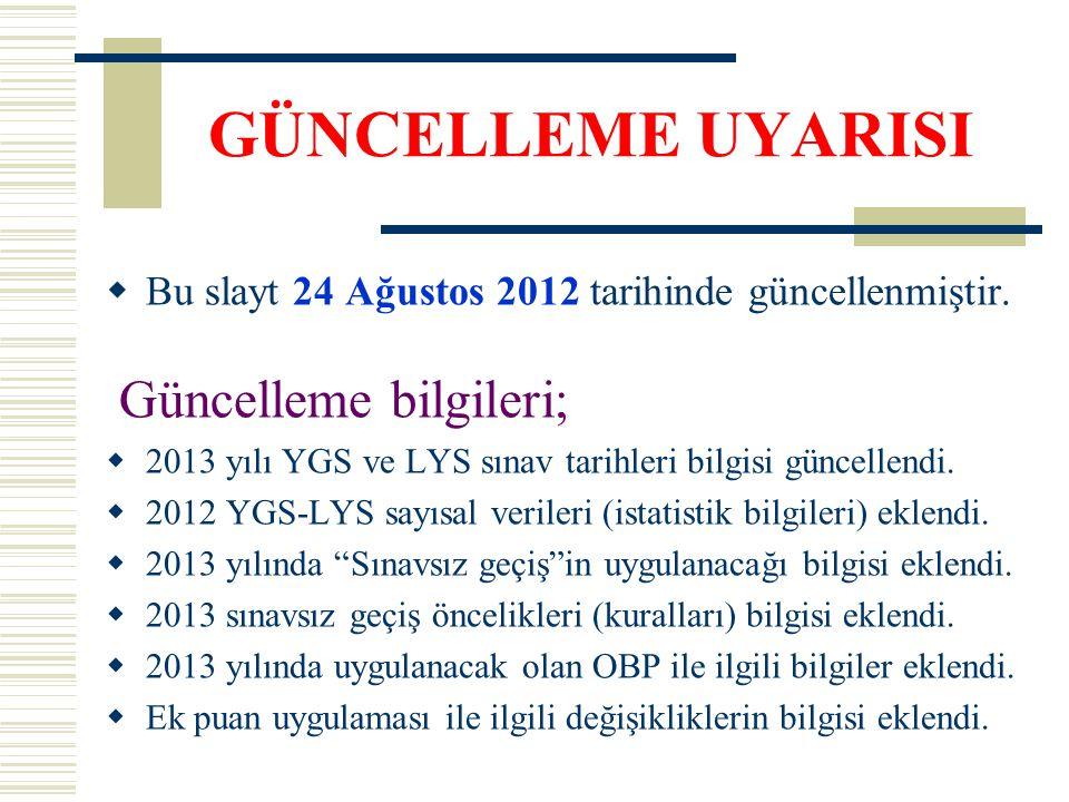 GÜNCELLEME UYARISI  Bu slayt 24 Ağustos 2012 tarihinde güncellenmiştir. Güncelleme bilgileri;  2013 yılı YGS ve LYS sınav tarihleri bilgisi güncelle
