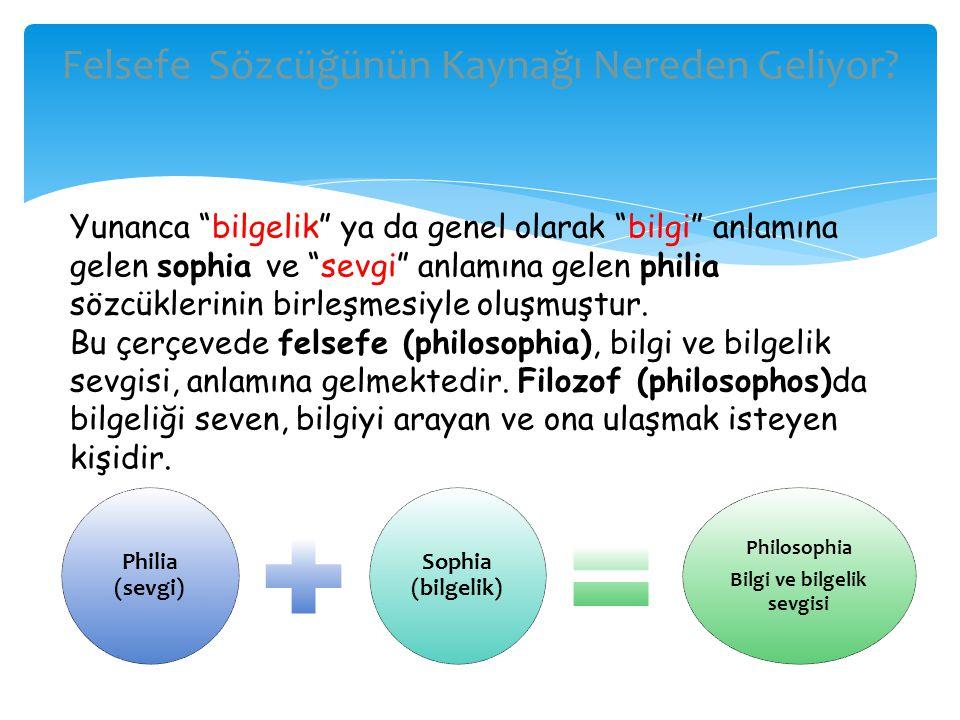 """Philia (sevgi) Sophia (bilgelik) Philosophia Bilgi ve bilgelik sevgisi Felsefe Sözcüğünün Kaynağı Nereden Geliyor? Yunanca """"bilgelik"""" ya da genel olar"""