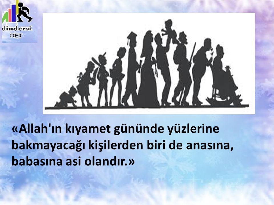 «Allah ın kıyamet gününde yüzlerine bakmayacağı kişilerden biri de anasına, babasına asi olandır.»