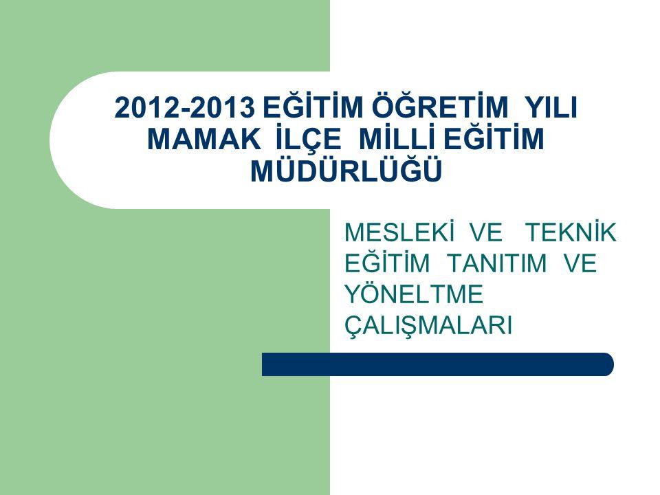 2012-2013 EĞİTİM ÖĞRETİM YILI MAMAK İLÇE MİLLİ EĞİTİM MÜDÜRLÜĞÜ MESLEKİ VE TEKNİK EĞİTİM TANITIM VE YÖNELTME ÇALIŞMALARI