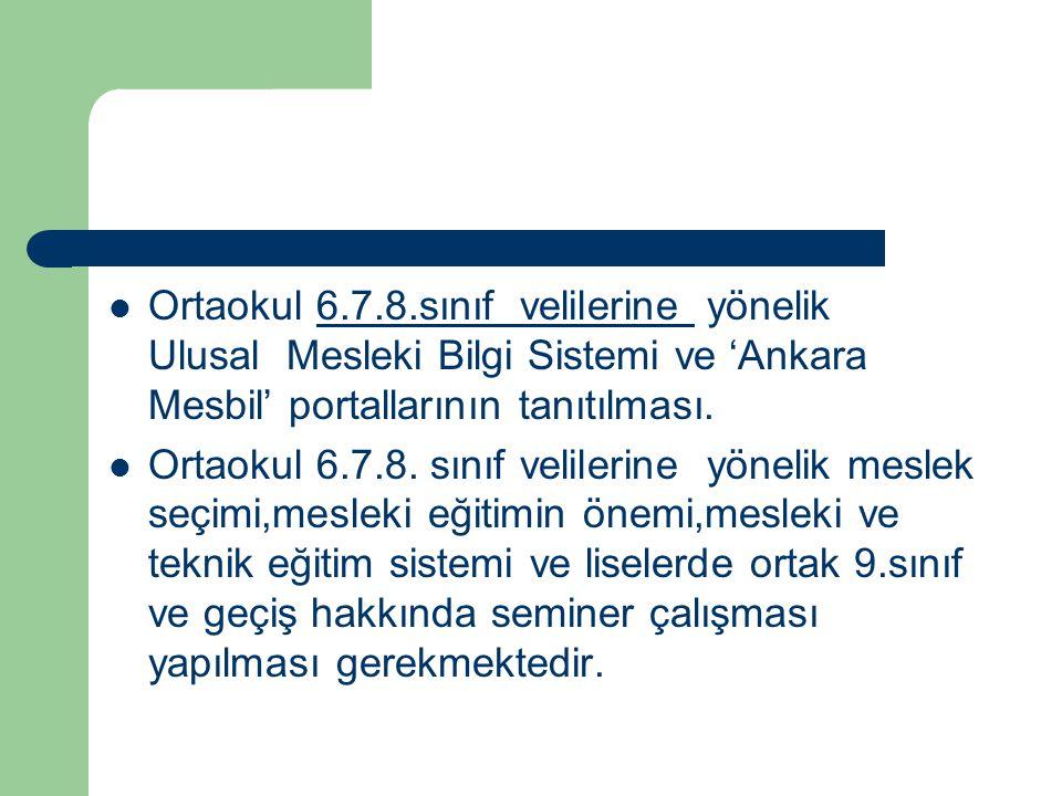 Ortaokul 6.7.8.sınıf velilerine yönelik Ulusal Mesleki Bilgi Sistemi ve 'Ankara Mesbil' portallarının tanıtılması.