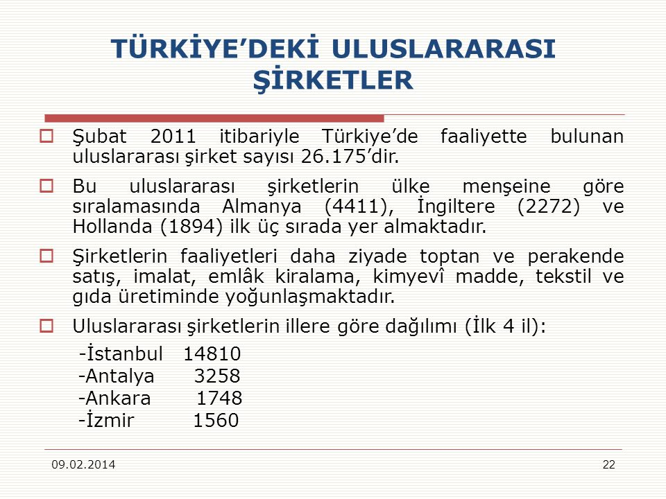 TÜRKİYEDEKİ ULUSLARARASI ŞİRKETLER Şubat 2011 itibariyle Türkiyede faaliyette bulunan uluslararası şirket sayısı 26.175dir. Bu uluslararası şirketleri