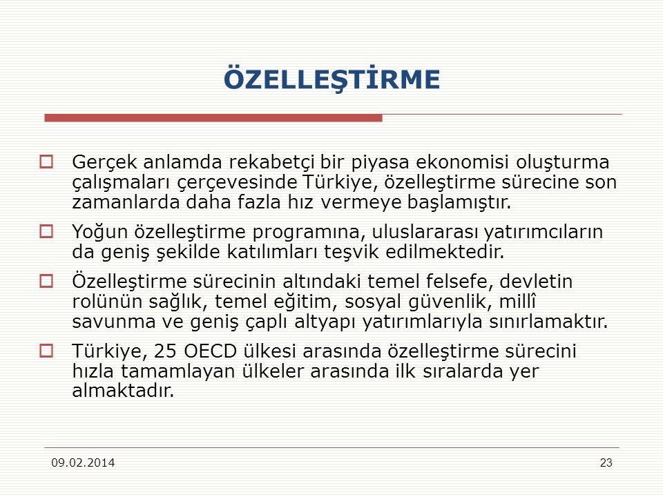 ÖZELLEŞTİRME Gerçek anlamda rekabetçi bir piyasa ekonomisi oluşturma çalışmaları çerçevesinde Türkiye, özelleştirme sürecine son zamanlarda daha fazla hız vermeye başlamıştır.