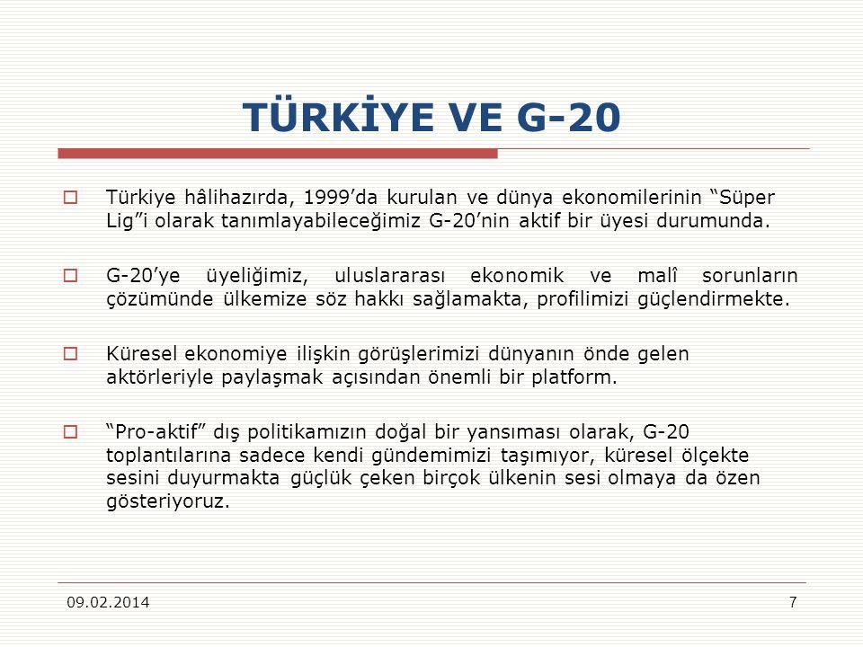 TÜRKİYE VE G-20 Türkiye hâlihazırda, 1999da kurulan ve dünya ekonomilerinin Süper Ligi olarak tanımlayabileceğimiz G-20nin aktif bir üyesi durumunda.
