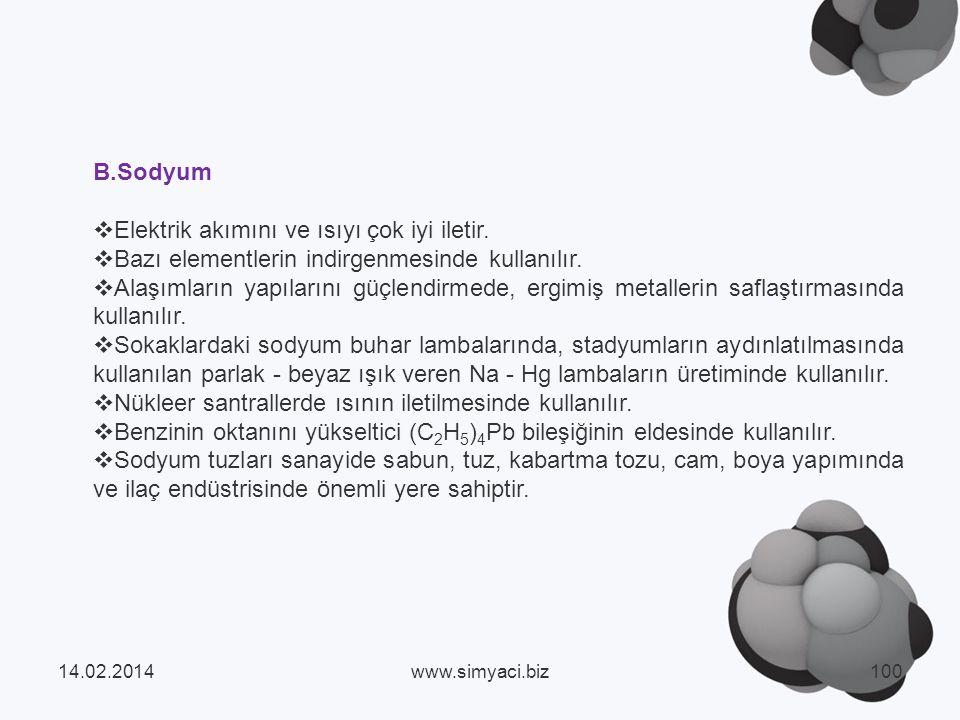 B.Sodyum Elektrik akımını ve ısıyı çok iyi iletir.