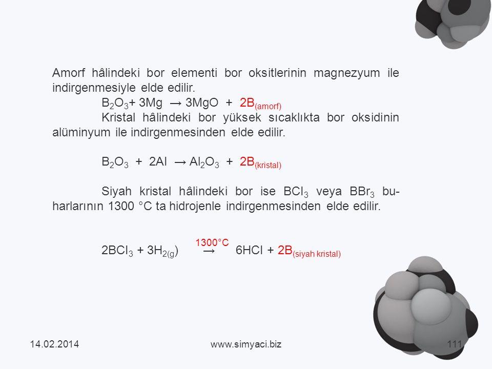 Amorf hâlindeki bor elementi bor oksitlerinin magnezyum ile indirgenmesiyle elde edilir.