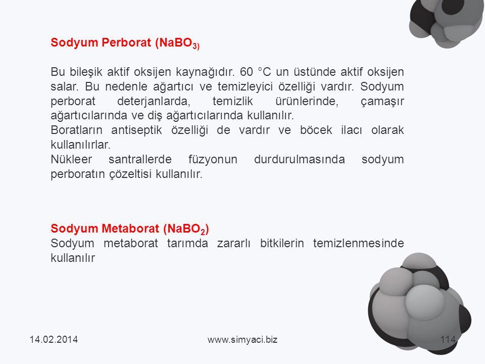 Sodyum Metaborat (NaBO 2 ) Sodyum metaborat tarımda zararlı bitkilerin temizlenmesinde kullanılır Sodyum Perborat (NaBO 3) Bu bileşik aktif oksijen kaynağıdır.