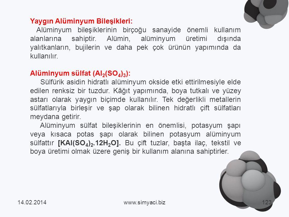 Yaygın Alüminyum Bileşikleri: Alüminyum bileşiklerinin birçoğu sanayide önemli kullanım alanlarına sahiptir.