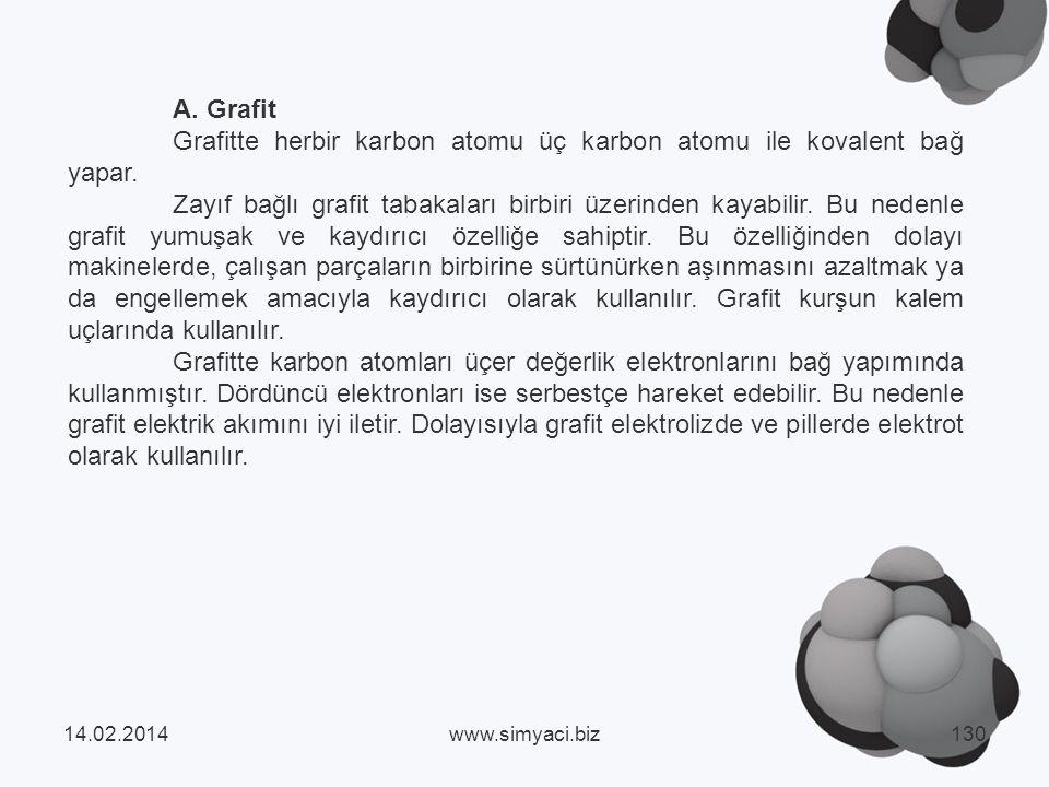A.Grafit Grafitte herbir karbon atomu üç karbon atomu ile kovalent bağ yapar.