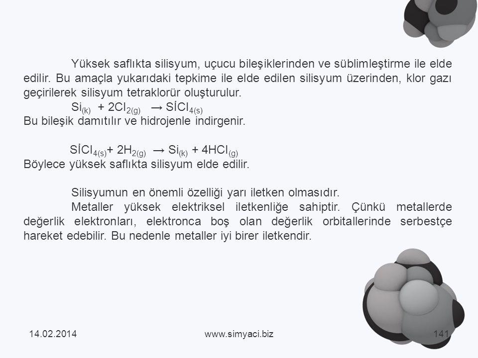 Yüksek saflıkta silisyum, uçucu bileşiklerinden ve süblimleştirme ile elde edilir.