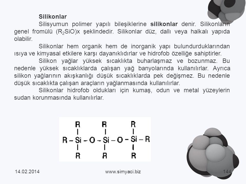 Silikonlar Silisyumun polimer yapılı bileşiklerine silikonlar denir.