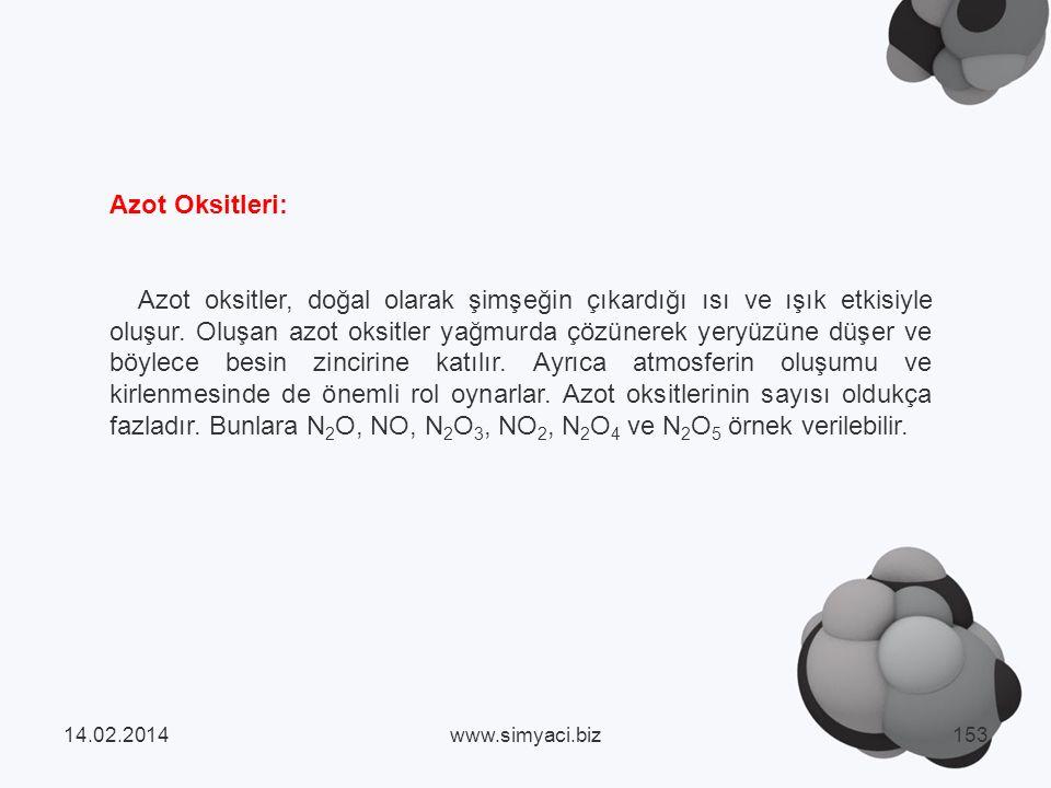 Azot Oksitleri: Azot oksitler, doğal olarak şimşeğin çıkardığı ısı ve ışık etkisiyle oluşur.