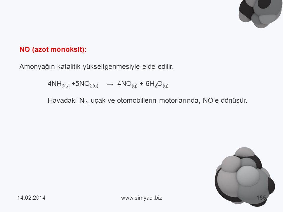 NO (azot monoksit): Amonyağın katalitik yükseltgenmesiyle elde edilir.