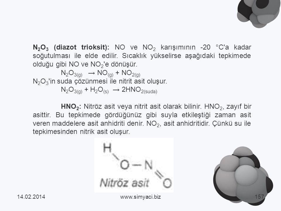 N 2 O 3 (diazot trioksit): NO ve NO 2 karışımının -20 °C a kadar soğutulması ile elde edilir.