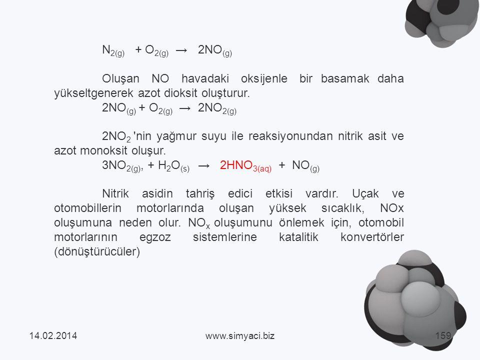 N 2(g) + O 2(g) 2NO (g) Oluşan NO havadaki oksijenle bir basamak daha yükseltgenerek azot dioksit oluşturur.