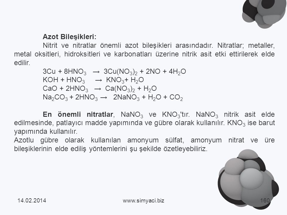 Azot Bileşikleri: Nitrit ve nitratlar önemli azot bileşikleri arasındadır.