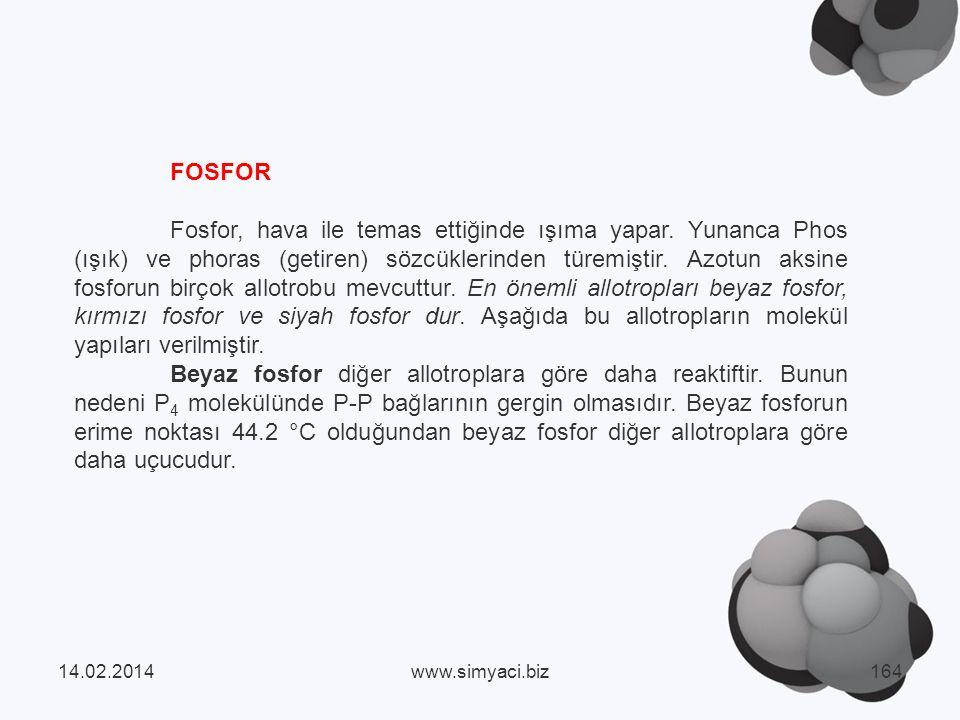 FOSFOR Fosfor, hava ile temas ettiğinde ışıma yapar.