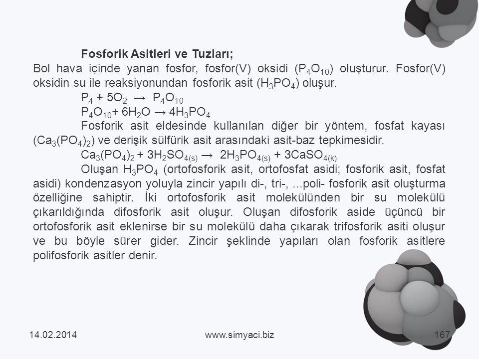 Fosforik Asitleri ve Tuzları; Bol hava içinde yanan fosfor, fosfor(V) oksidi (P 4 O 10 ) oluşturur.