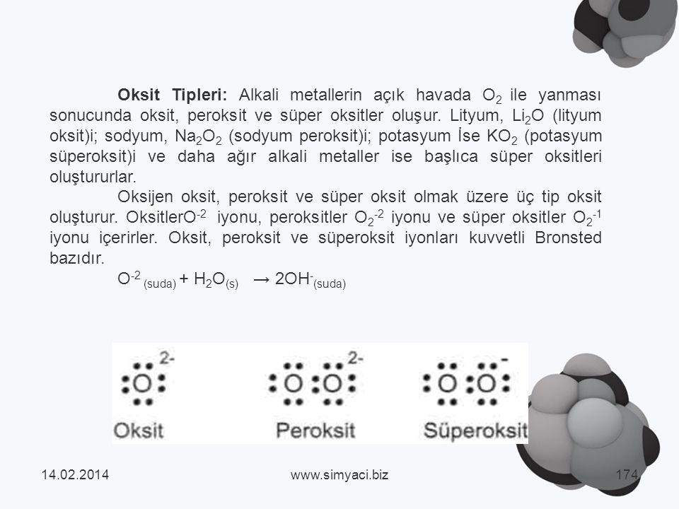 Oksit Tipleri: Alkali metallerin açık havada O 2 ile yanması sonucunda oksit, peroksit ve süper oksitler oluşur.