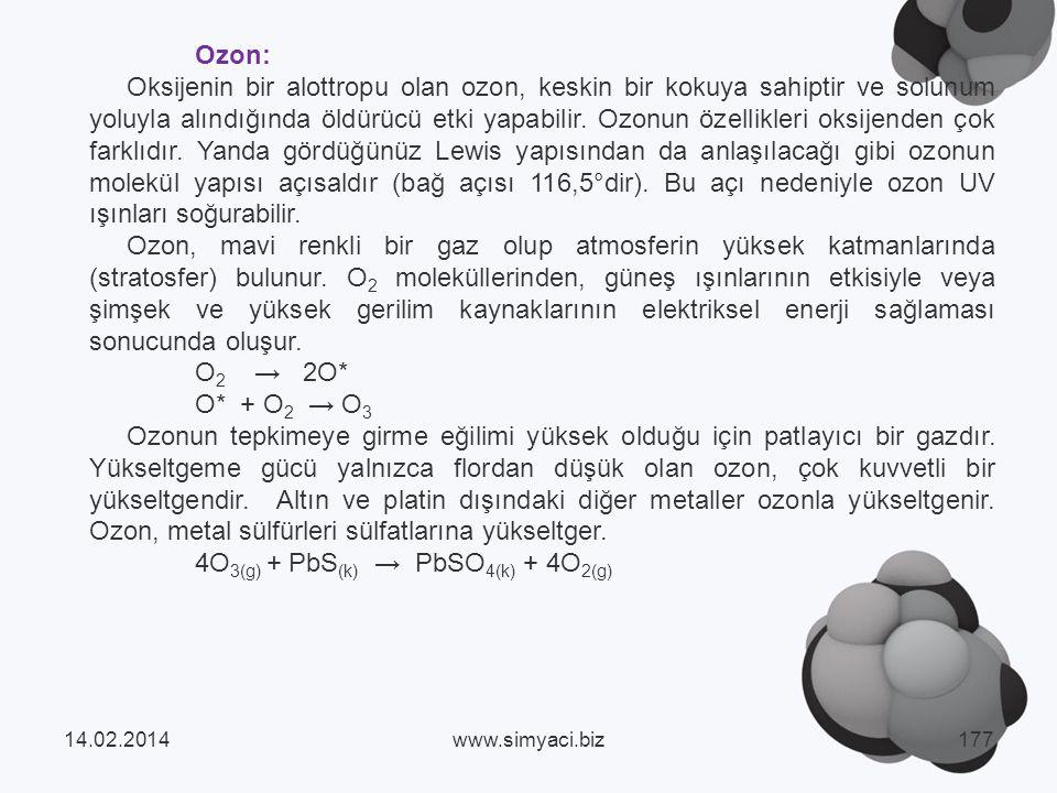 Ozon: Oksijenin bir alottropu olan ozon, keskin bir kokuya sahiptir ve solunum yoluyla alındığında öldürücü etki yapabilir.