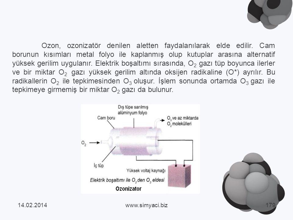 Ozon, ozonizatör denilen aletten faydalanılarak elde edilir.
