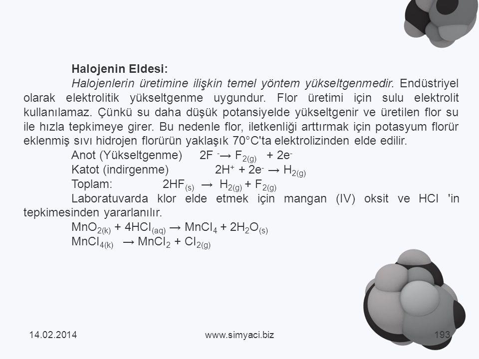 Halojenin Eldesi: Halojenlerin üretimine ilişkin temel yöntem yükseltgenmedir.