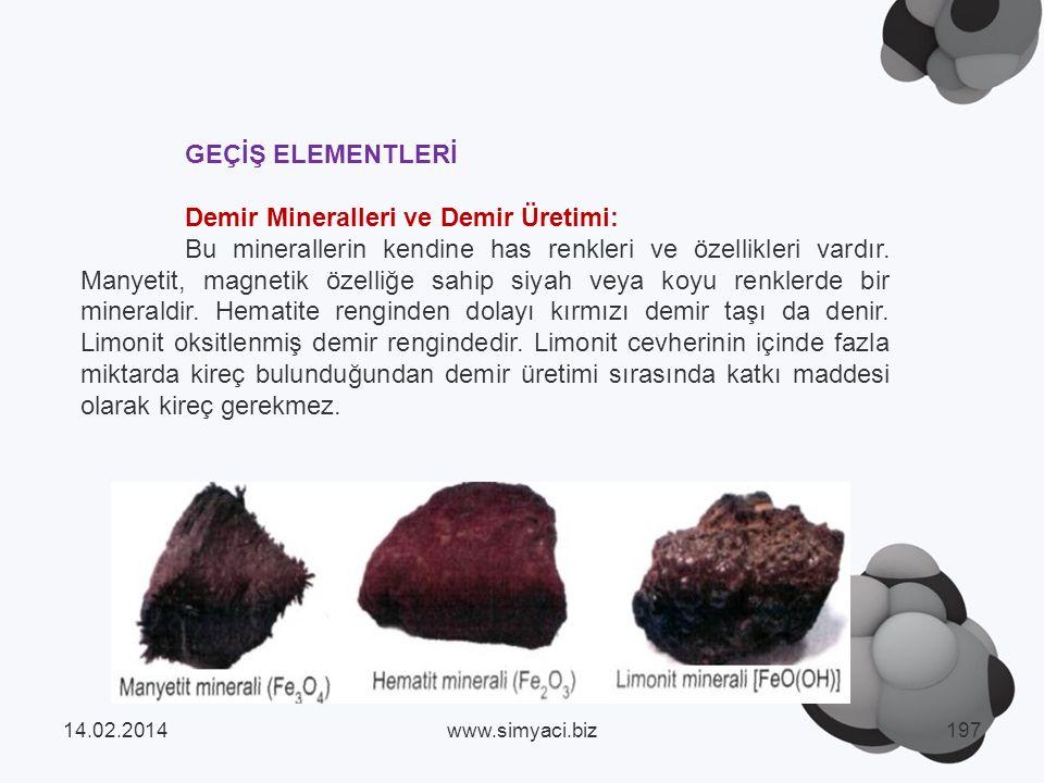 GEÇİŞ ELEMENTLERİ Demir Mineralleri ve Demir Üretimi: Bu minerallerin kendine has renkleri ve özellikleri vardır.
