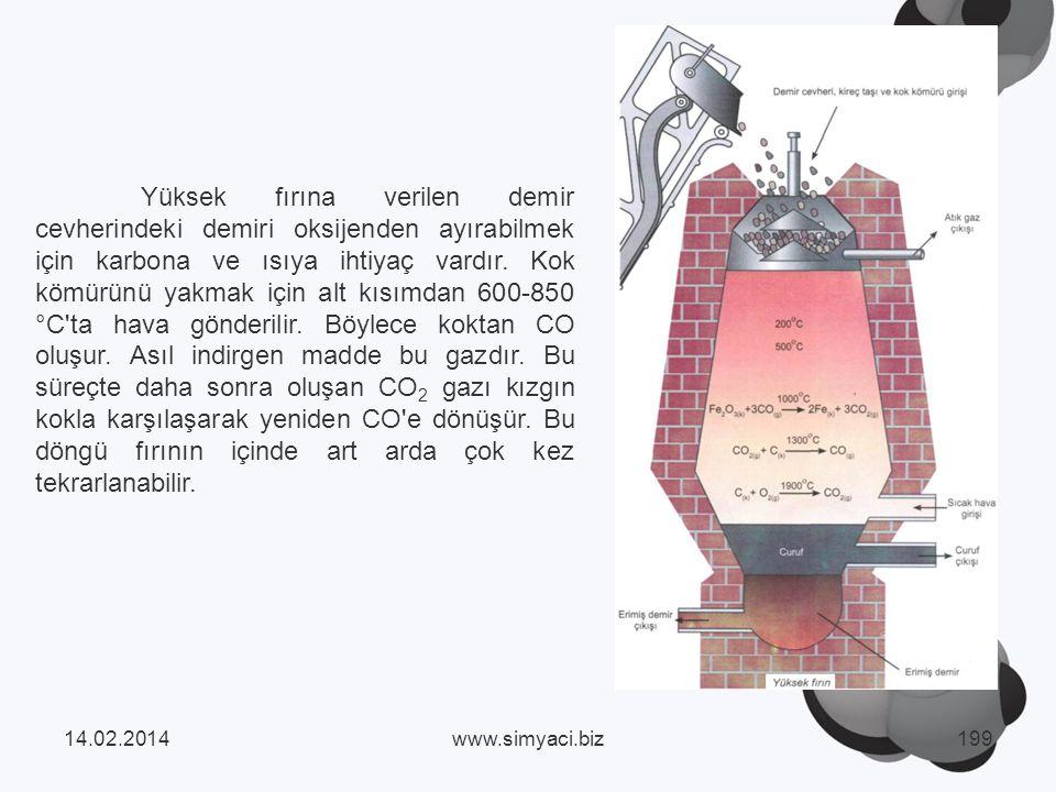 Yüksek fırına verilen demir cevherindeki demiri oksijenden ayırabilmek için karbona ve ısıya ihtiyaç vardır.