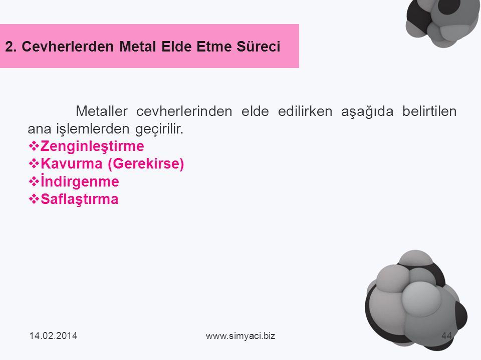 Metaller cevherlerinden elde edilirken aşağıda belirtilen ana işlemlerden geçirilir.
