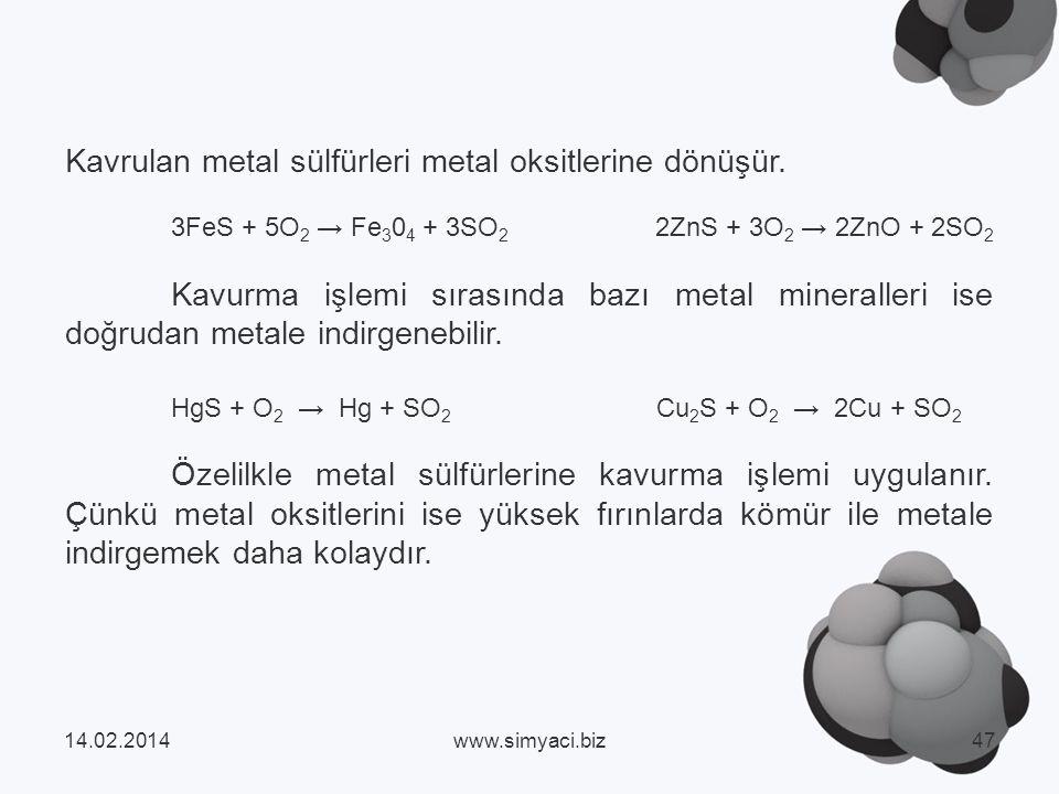 Kavrulan metal sülfürleri metal oksitlerine dönüşür.