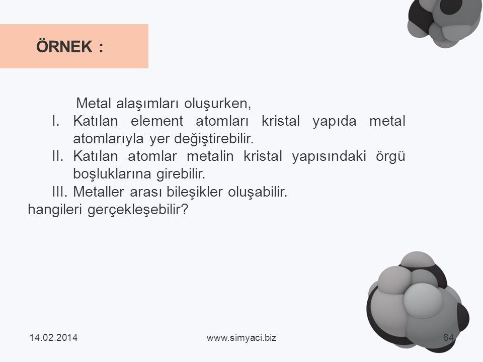 Metal alaşımları oluşurken, I.Katılan element atomları kristal yapıda metal atomlarıyla yer değiştirebilir.